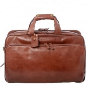 Vegetable Tanned Leather Expandable Holdall Cognac/vt : 44277