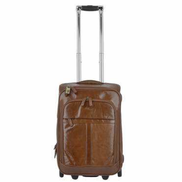 Vegetable Tanned Leather Luggage Cabin Trolley Chestnut : 89150