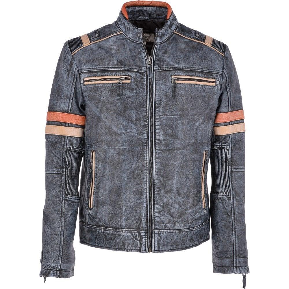 Vintage Leather Jacket >> Vintage Leather Biker Jacket Blue Black Jaxon