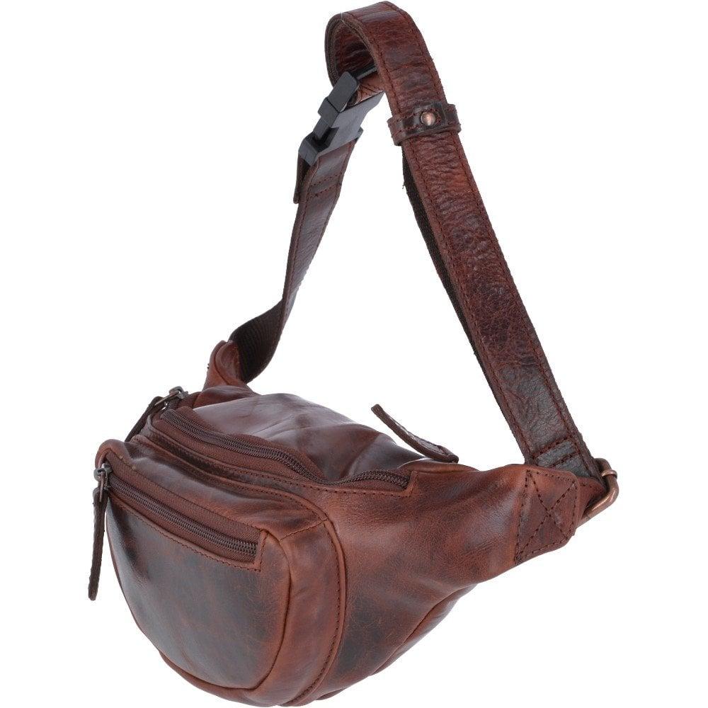 Vintage Leather Travel Waist Bag Tan: Ed