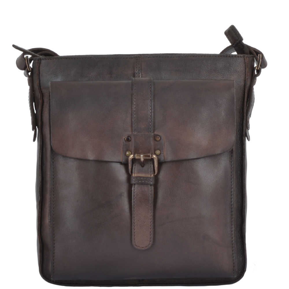 Vintage Wash Leather A4 Side Bag Brown  7994  bf404002178