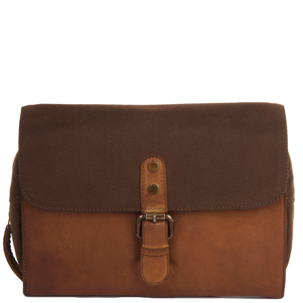 ab70dee5b2 Vintage Wash Leather and Canvas Hanging Toiletry Bag Rust   1338