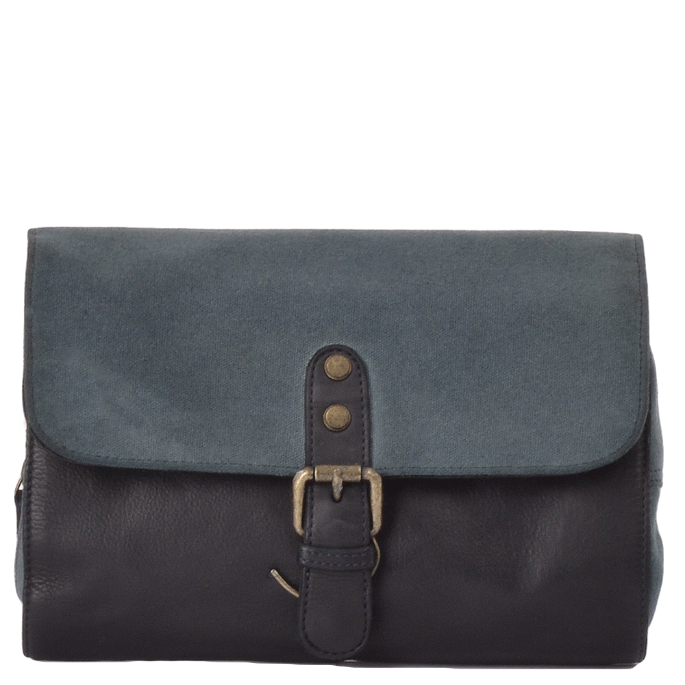 e9ff0c5492c Mens Vintage Wash Leather   Canvas Hanging Toiletry Bag Navy   1338