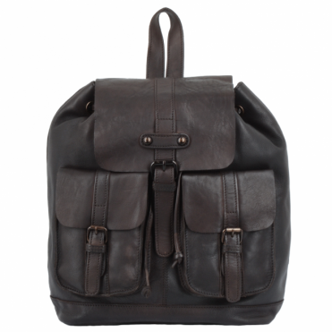 Vintage Wash Leather Rucksack Brown : 7990