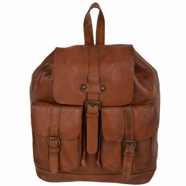 Vintage Wash Leather Rucksack Rust : 7990