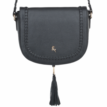 Womens Cross-body Leather Saddle Bag Black : 61659