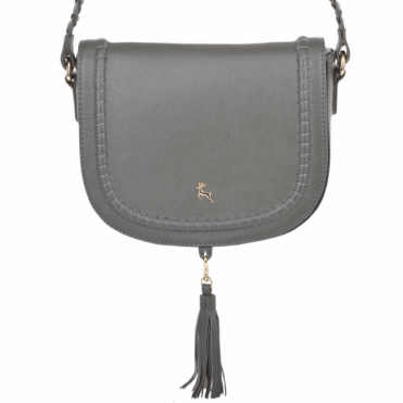 Womens Cross-body Leather Saddle Bag Slate Grey : 61659