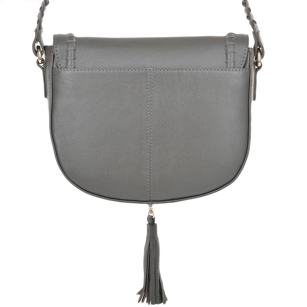 ASHWOOD Cross-body Leather Saddle bag - 61659 - Slate Grey 403365210