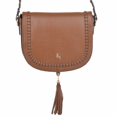 Womens Cross-body Leather Saddle Bag Tan : 61659