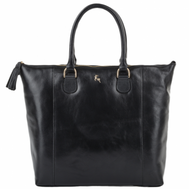 Womens Large Veg Tanned Leather Hold-all Tote Black/vt : ELA 761M