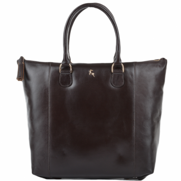 Womens Large Veg Tanned Leather Hold-all Tote Brown/vt : ELA 761M