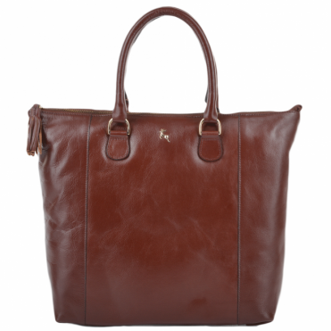 Womens Large Veg Tanned Leather Hold-all Tote Chestnut/vt : ELA 761M