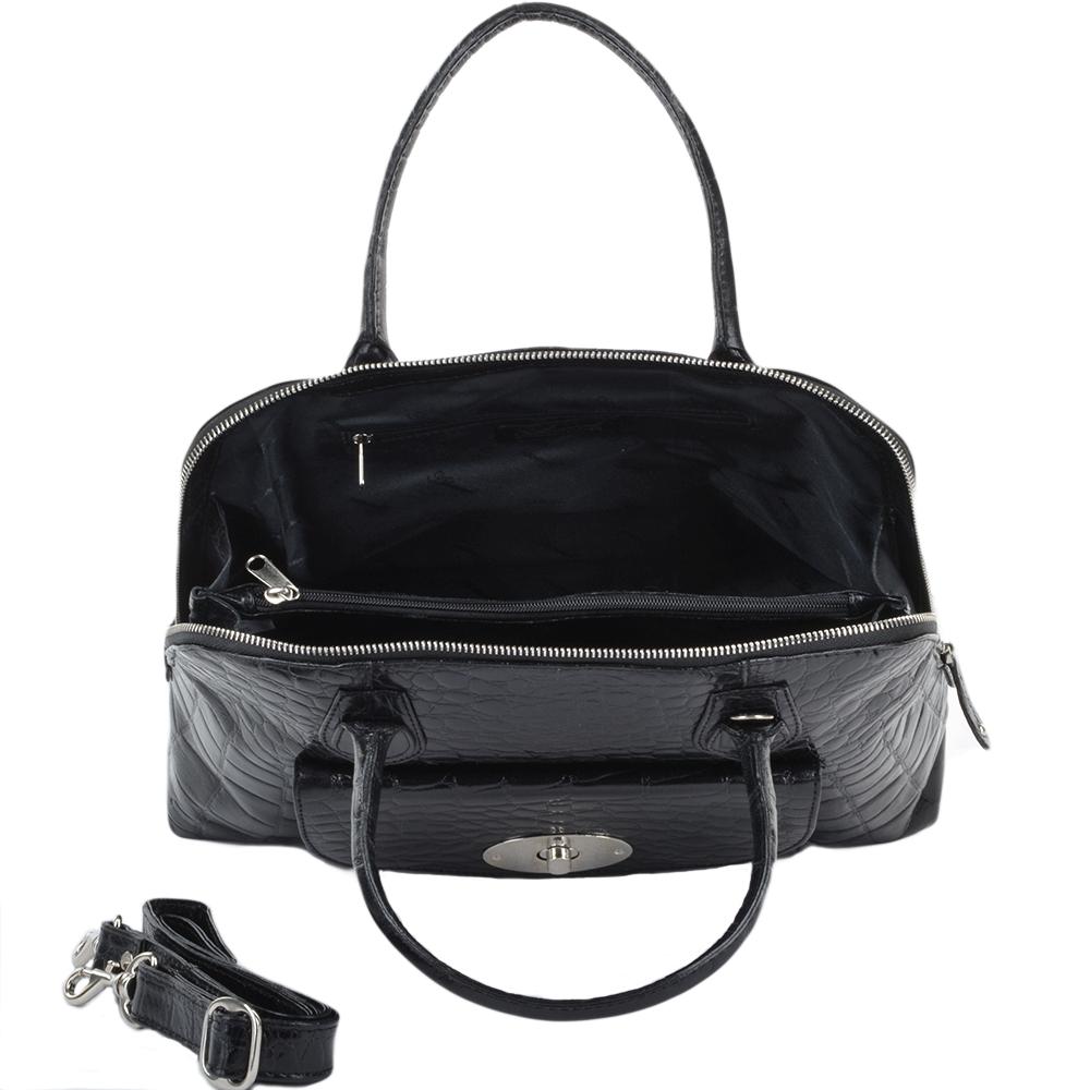 fb984d23fbf Womens Leather Crocodile Print Handbag With Side Purse Pocket Blk/croc :  79640