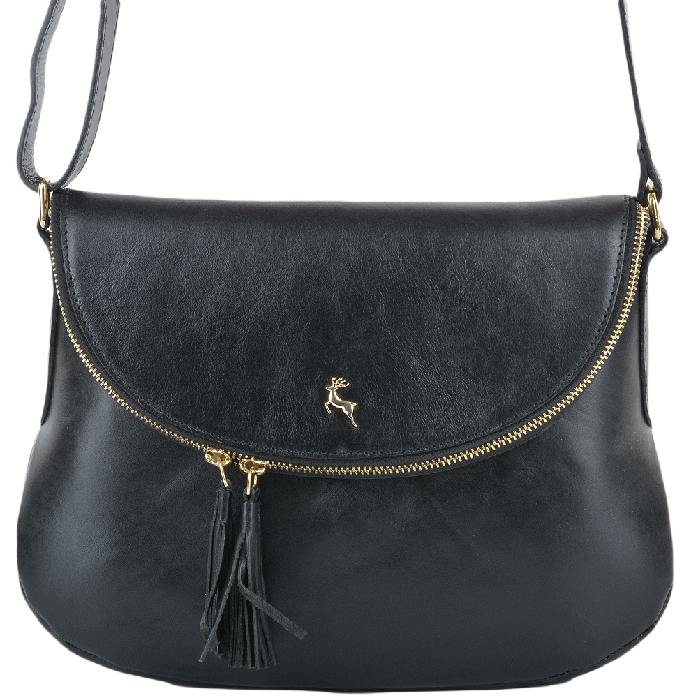 Womens Leather Cross Body Bag Black Vt Si 1471