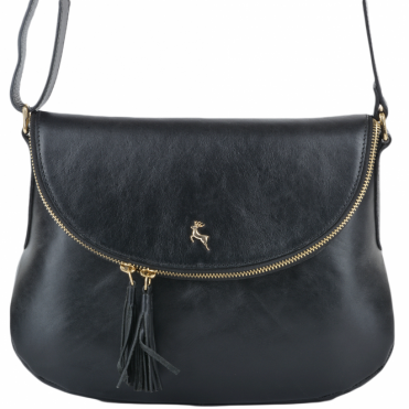 Womens Leather Cross Body Bag Black/vt : SI 1471