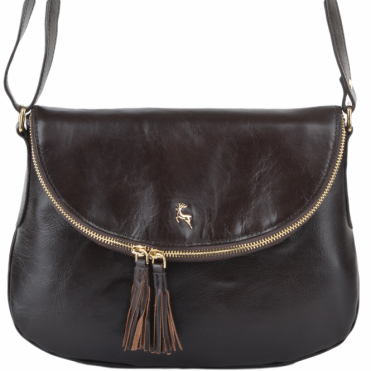 Womens Leather Cross Body Bag Brown/vt : SI 1471