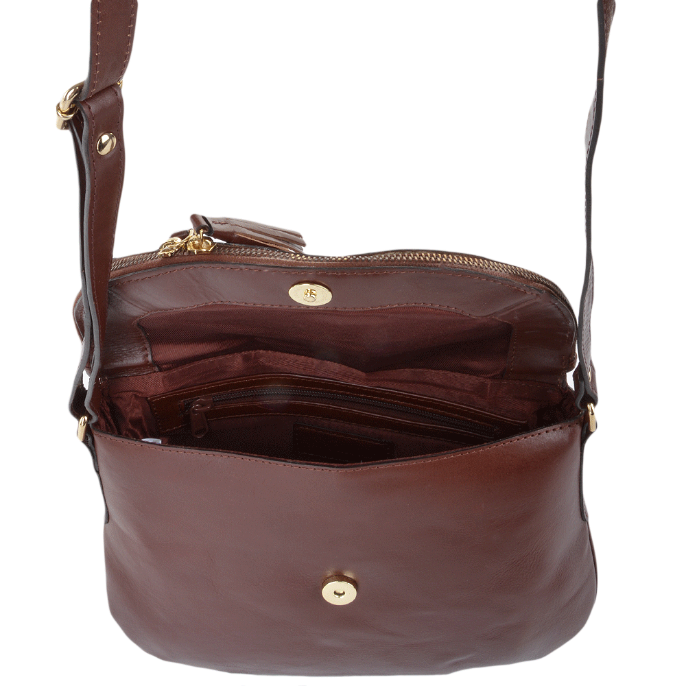 70d7aa4502 Womens Leather Cross Body Bag Chestnut vt   SI 1471