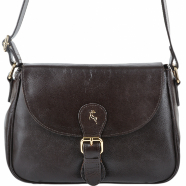 Womens Leather Flap Cross Body Bag Brown/vt : SI 960A