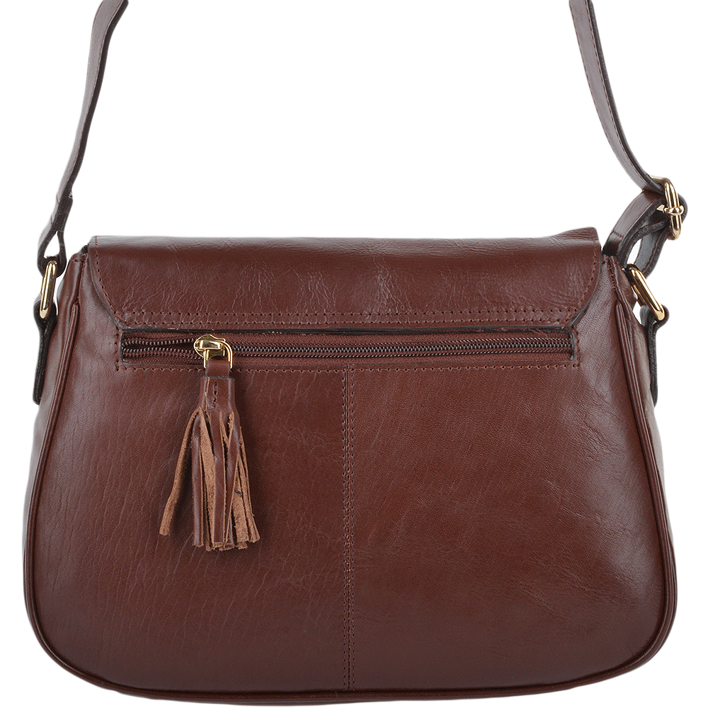 Womens Leather Flap Cross Body Bag Chestnut Vt Si 960a