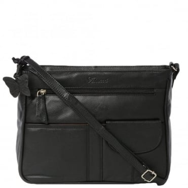 Womens Leather Handbag Black : Ela 1081