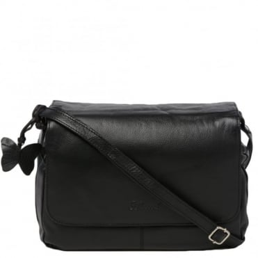 Womens Leather Handbag Black : Ela 1083