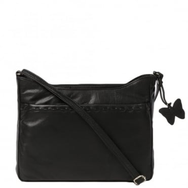 Womens Leather Handbag Black : Ela 1084