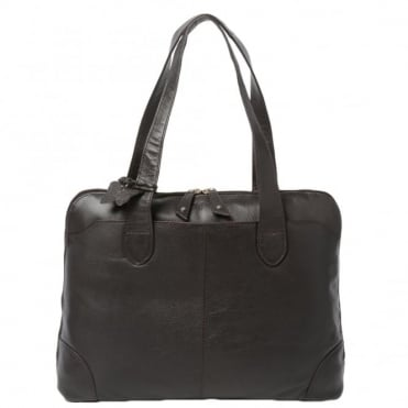 Womens Leather Handbag Choc.brn : Ela 1086