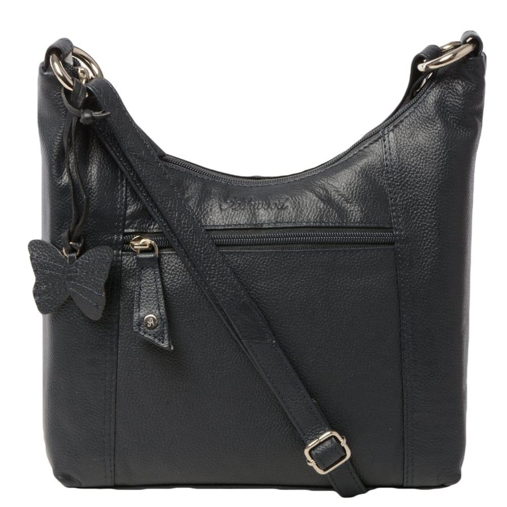 Womens Leather Handbag Navy Ela 1080 Leather Handbags