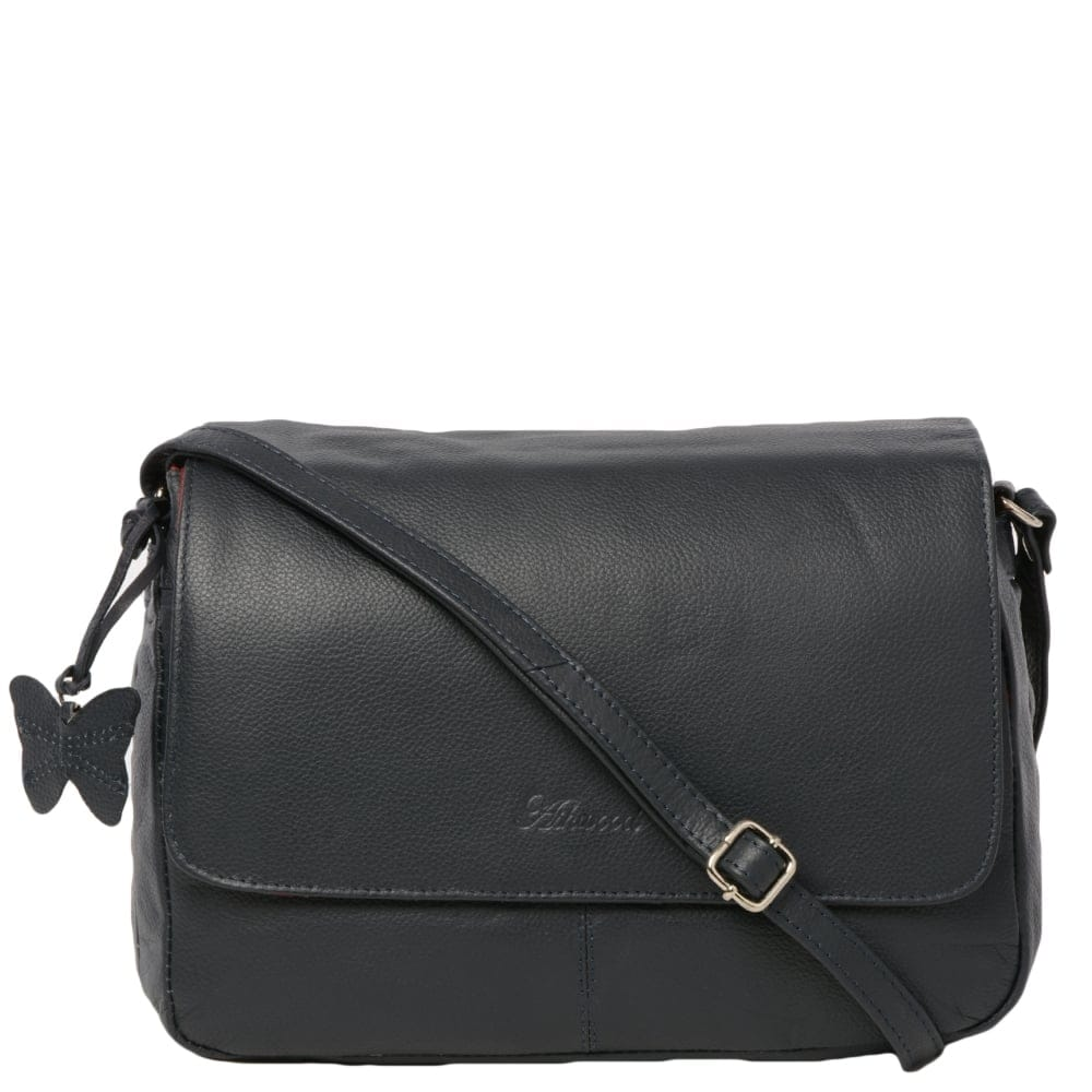 Womens Leather Handbag Navy Ela 1083