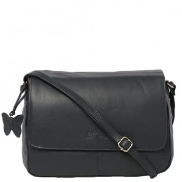 Womens Leather Handbag Navy : Ela 1083