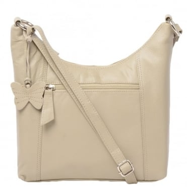 Womens Leather Handbag Taupe : Ela 1080