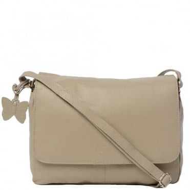 Womens Leather Handbag Taupe : Ela 1083