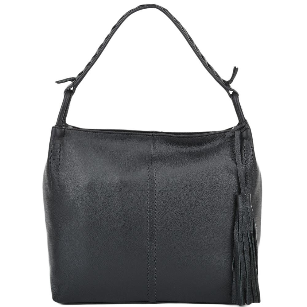 Womens Leather Hobo Shoulder Bag Black : 61634