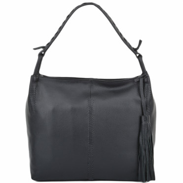 Womens Leather Hobo Shoulder Bag Black : 61634