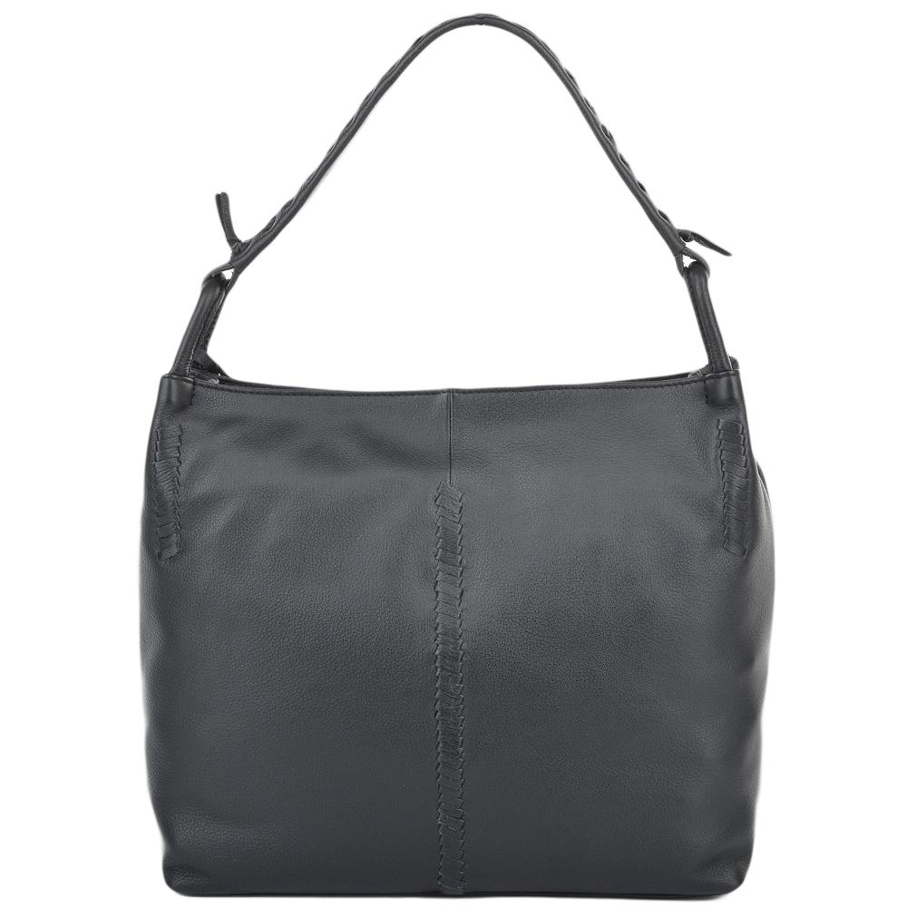 Womens Leather Hobo Shoulder Bag Black 61634