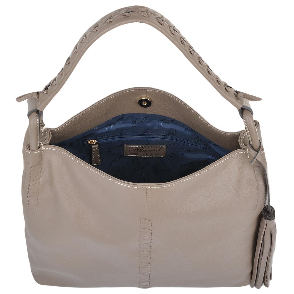 Womens Leather Hobo Shoulder Bag Mushroom 61634