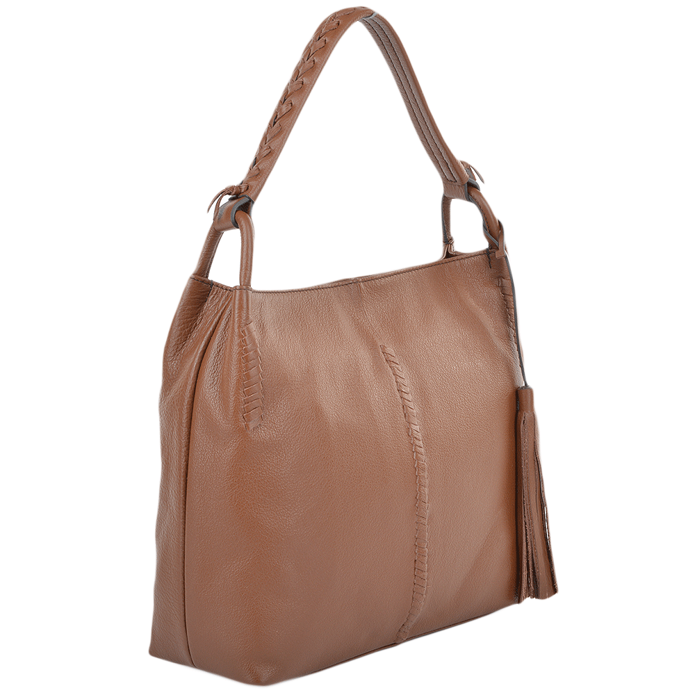 Womens Leather Hobo Shoulder Bag Tan : 61634