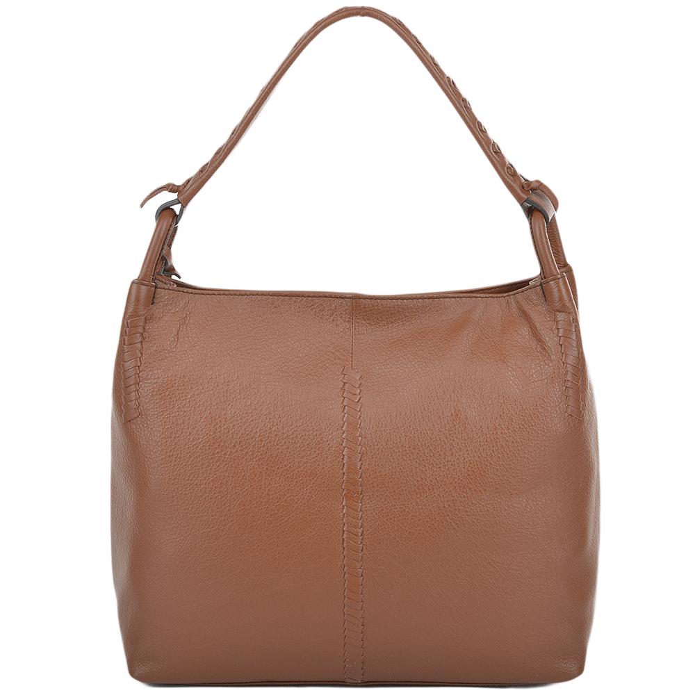 Womens Leather Hobo Shoulder Bag Tan : 61634