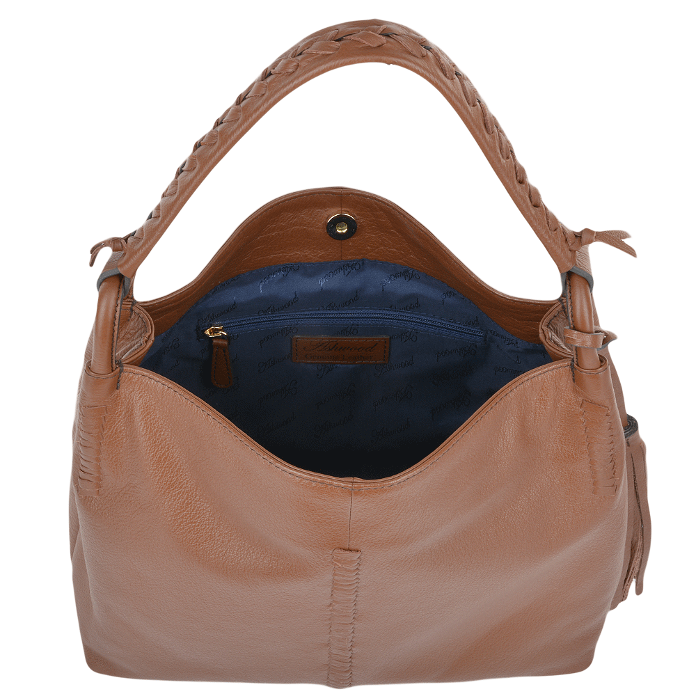 Womens Leather Hobo Shoulder Bag Tan 61634