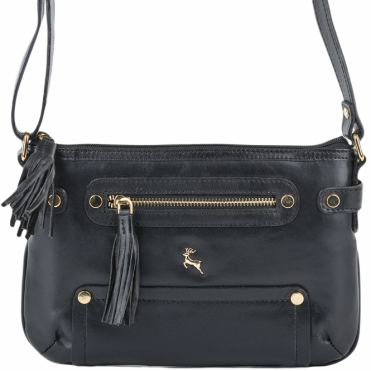 Womens Leather Small Cross Body Bag Black/vt : SI 1331