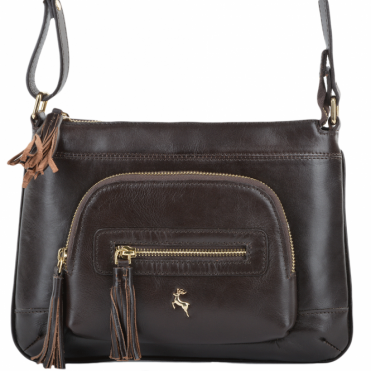 Womens Leather Small Cross Body Bag Brown/vt : ELA 1261