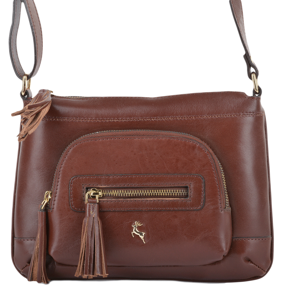 28fe1f012ddf Womens Leather Small Cross Body Bag Chestnut vt   ELA 1261