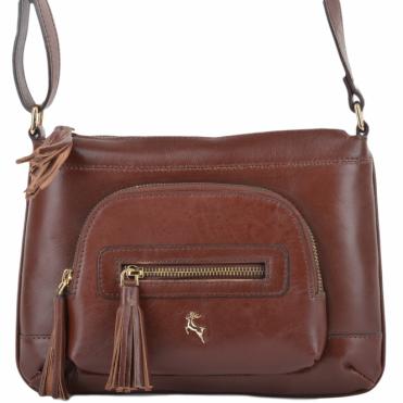 76869d0a66 Womens Leather Small Cross Body Bag Chestnut vt   ELA 1261
