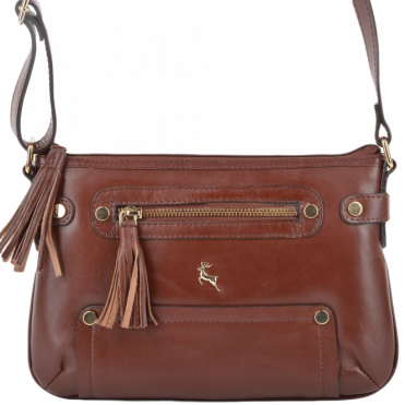 Womens Leather Small Cross Body Bag Chestnut/vt : SI 1331