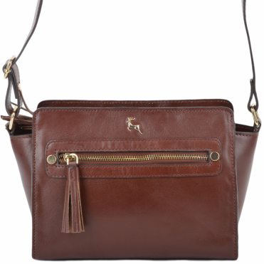 Womens Leather Small Structured Body Bag Chestnut/vt : SI-1339