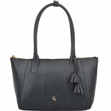 Womens Long Loop Handle Leather Lady Bag Black : 61639