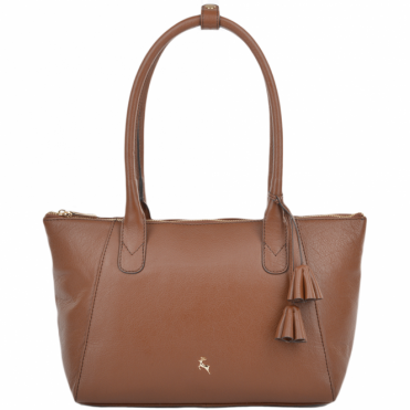 Womens Long Loop Handle Leather Lady Bag Tan : 61639