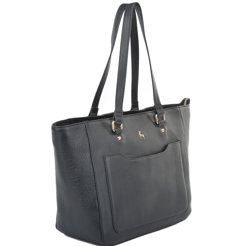32c6bd2ffb Womens Medium Leather City Shopper Bag Black   61619