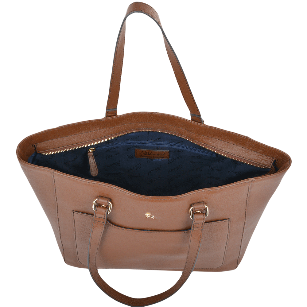 Womens Medium Leather City Shopper Bag Tan : 61619