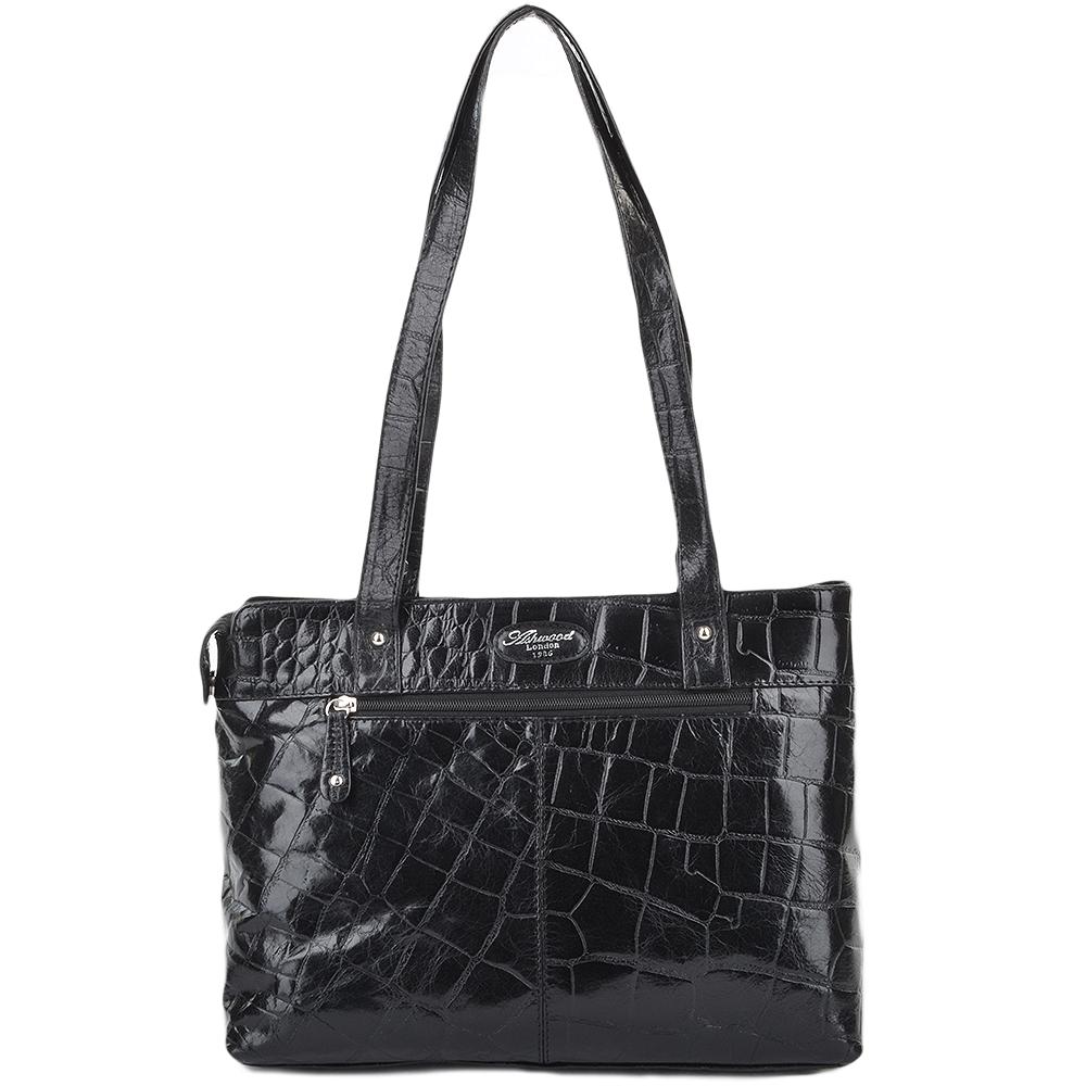 Womens Medium Leather Crocodile Print Shoulder Bag With Midsection Purse  Pocket Blk croc  52234 d931e04678d2b